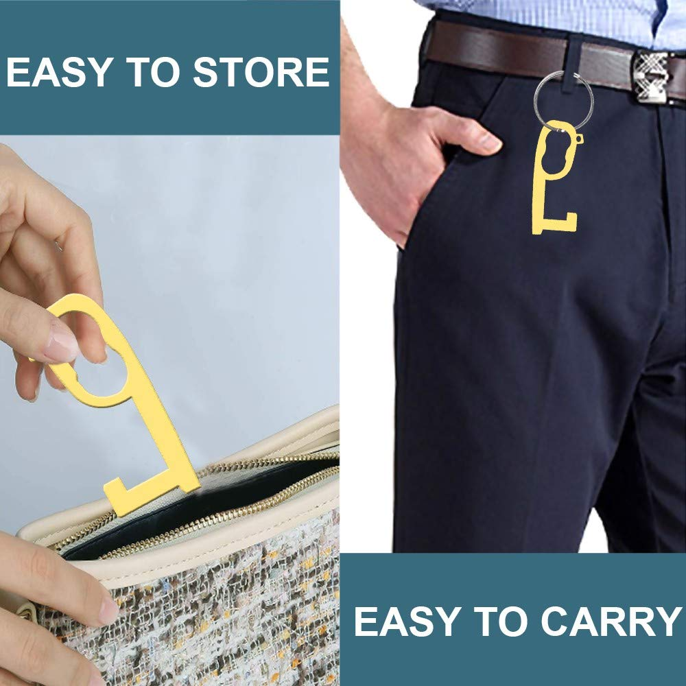 Zlolia Brass Door Opener Hygiene Hand Handheld Non-Contact Stylus Keychain Tool Keep Hands Clean