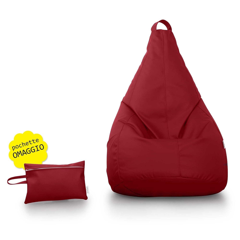 Pouf Poltrona sacco Pera in Ecopelle mis.70*130cm + pochette omaggio ...