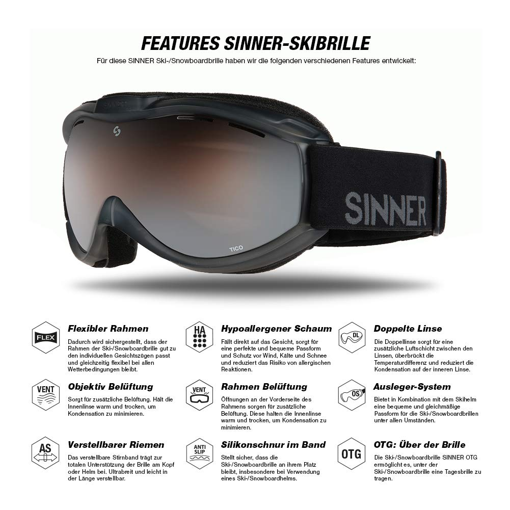 SINNER Ski Goggles – Double Lens Gold Mirror Ski Snowboard Unisex Goggles with 100 UV Protection Matte Black