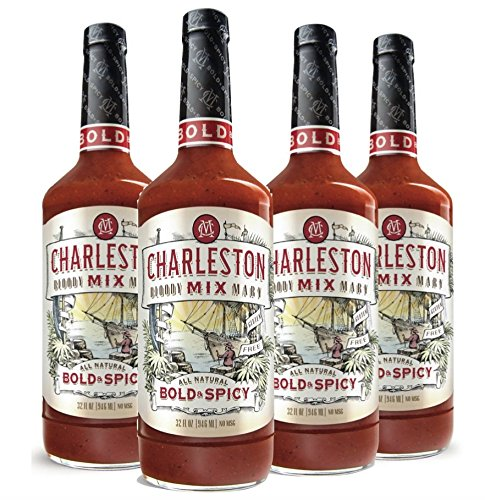 Charleston Mix Premium, All Natural Bloody Mary Mix. Bold & Spicy 32oz (4 bottles & FREE Koozie!)