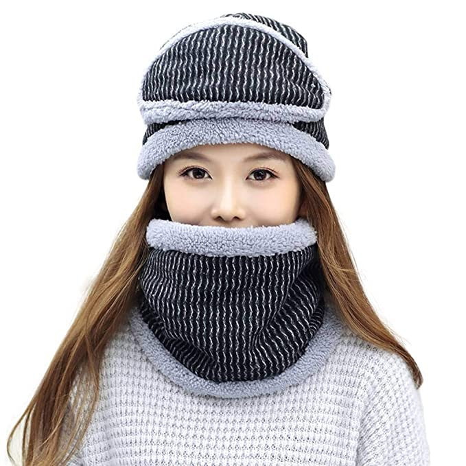 Harmily Women Winter Masks Hat And Scarf Sets Warm Knitted Hats