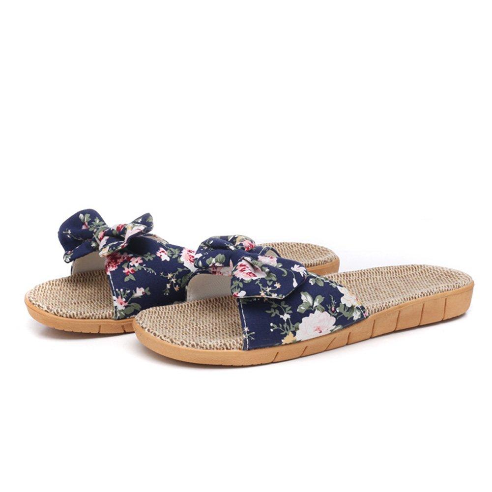 HaloVa Women's Slippers, Antislip Open-Toe Summer Flax Slippers
