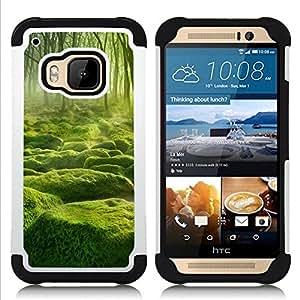 """HTC One M9 /M9s / One Hima - 3 en 1 impreso colorido de Altas Prestaciones PC Funda chaqueta Negro cubierta gel silicona suave (Misty verde Forrest"""")"""