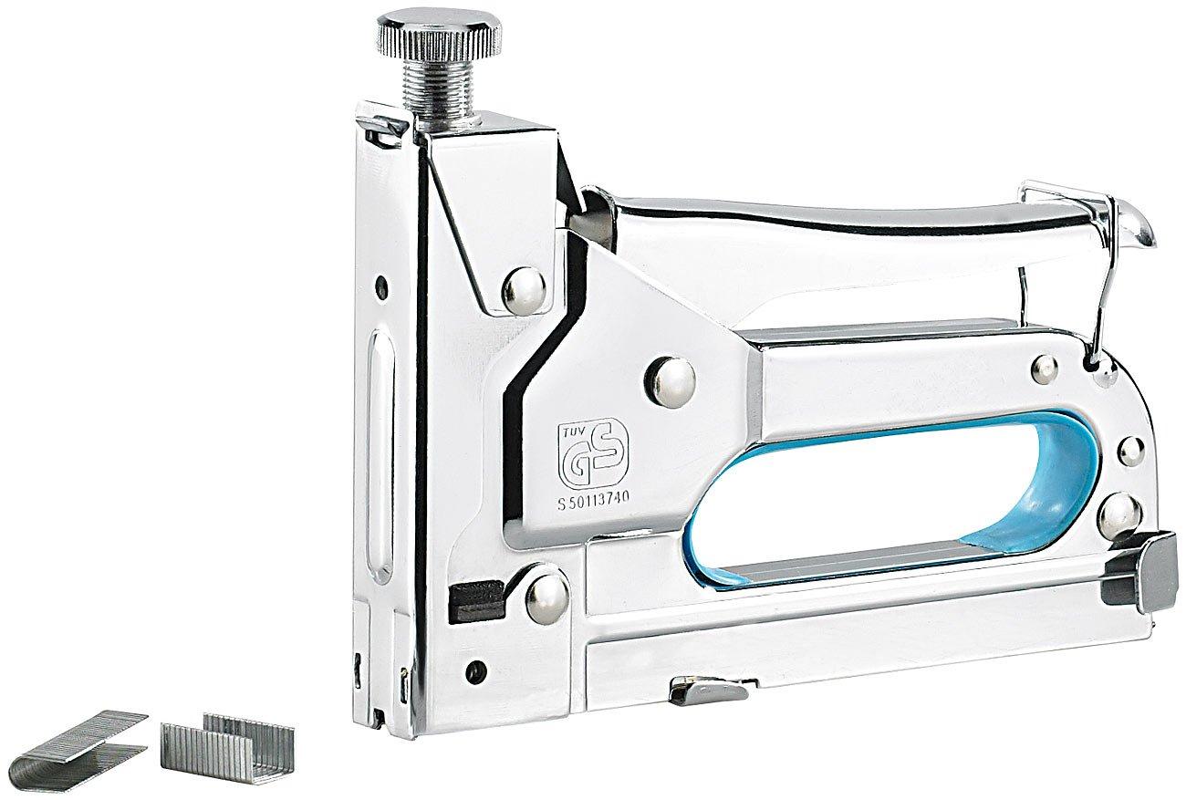 AGT NC-5322-944 Tacker: 3in1-Handtacker mit 600-teiligem 8 mm Klammer-Sortiment (Nagler)