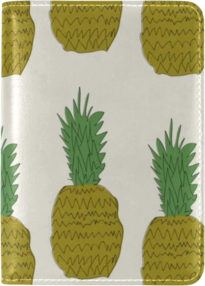 LEISISI Lovely Pineapple Genuine Real Leather Passport Holder Cover Travel Case