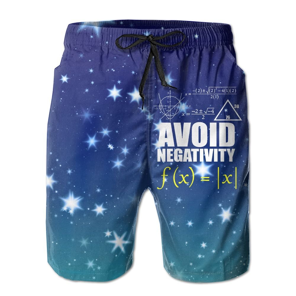 Helidoud Funny Avoid Negativity Mens Athletic Classic Summer Shorts Casual Swim Shorts with Pockets