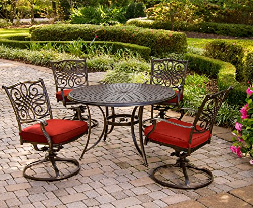 (Hanover TRADDN5PCSW-RED Traditions 5-Piece Dining Set, Red Outdoor)