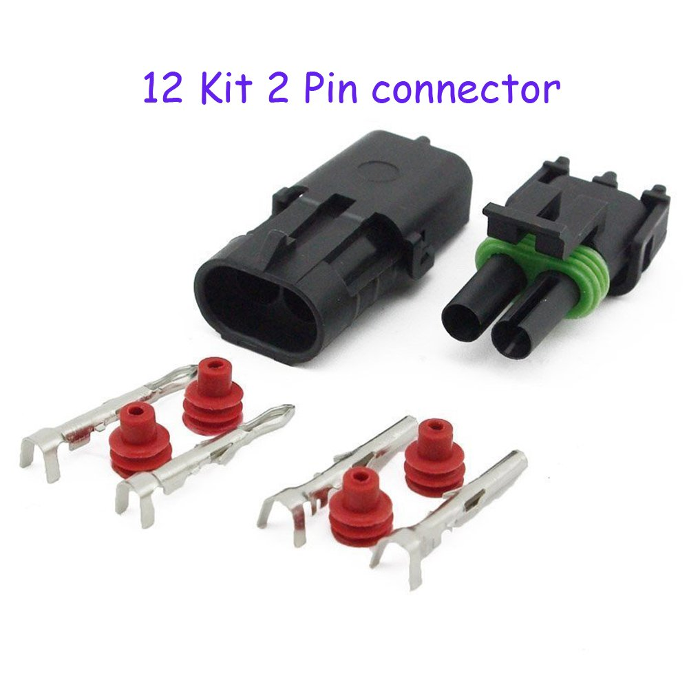 HIFROM 12 Kit of 2 Pin Way Waterproof Electrical Connector 1.5mm Series Terminals Heat Shrink Quick Locking Wire Harness Sockets 20-14 AWG
