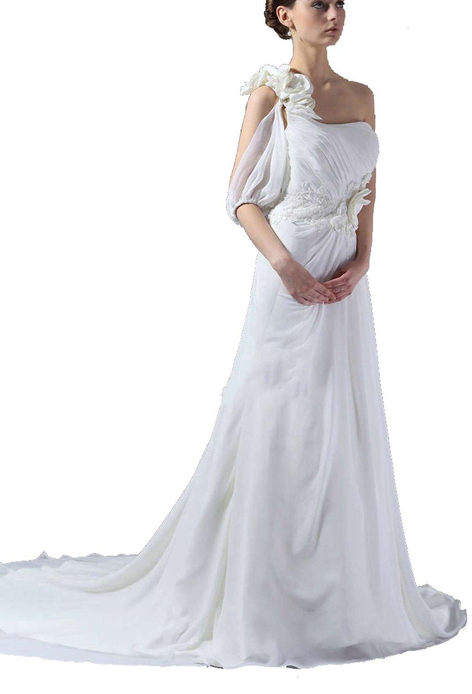 Albizia Womens One-shoulder Pleated Chapel Train Chiffon Wedding Dress