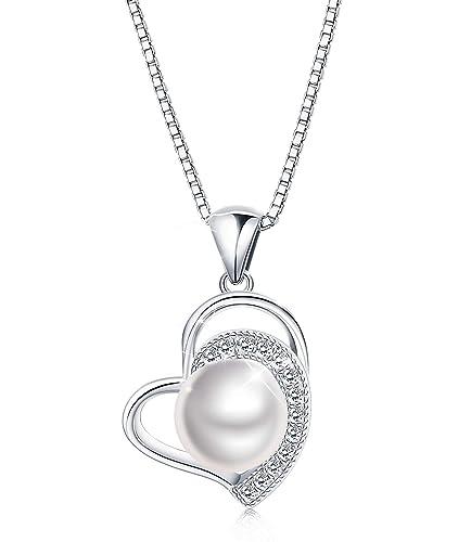 e1a2e47fe9af Besteel  quot Corazón Elegante Collar de Plata de Ley 925 Perla Mujeres  Niñas Collar Corazón