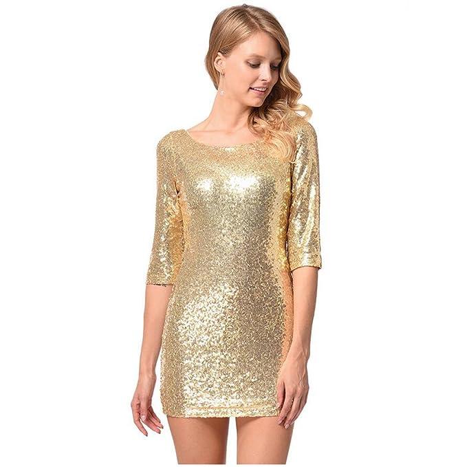 comprar original precio competitivo envío complementario HUAN Vestido Tubo de Lentejuelas de Mujer Dorado, Falda ...