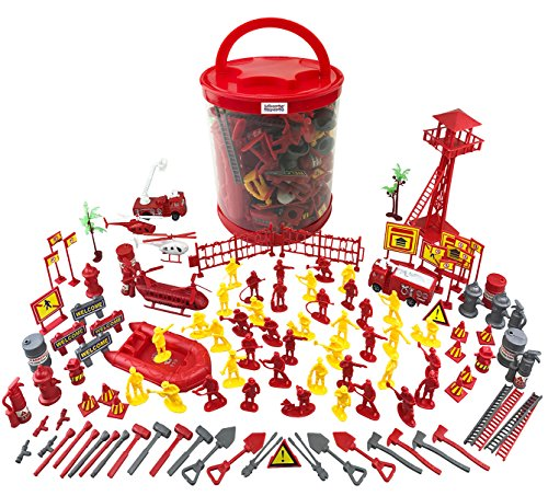 Firefighter Action Figures Big Firemen Bucket Playset (125+ Pieces)