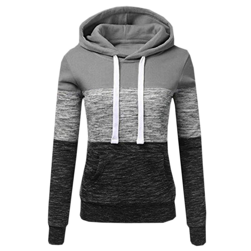 STORTO Womens Casual Color Block Hoodies Sweatshirt Patchwork Drawstring Pullover Tops Gray