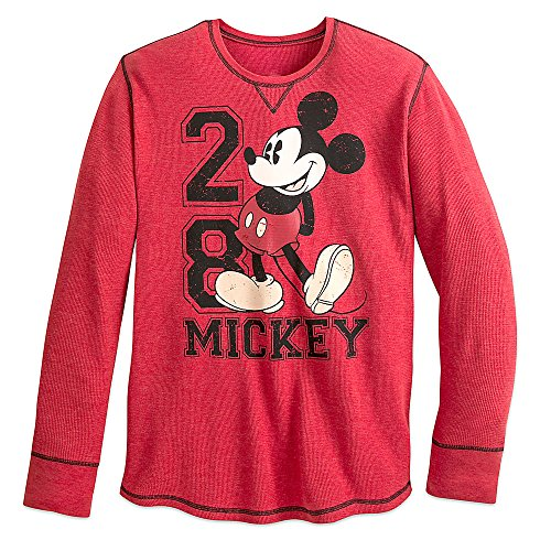 Disney Mickey Mouse Long Sleeve Thermal Tee for Men Size MENS XL Red
