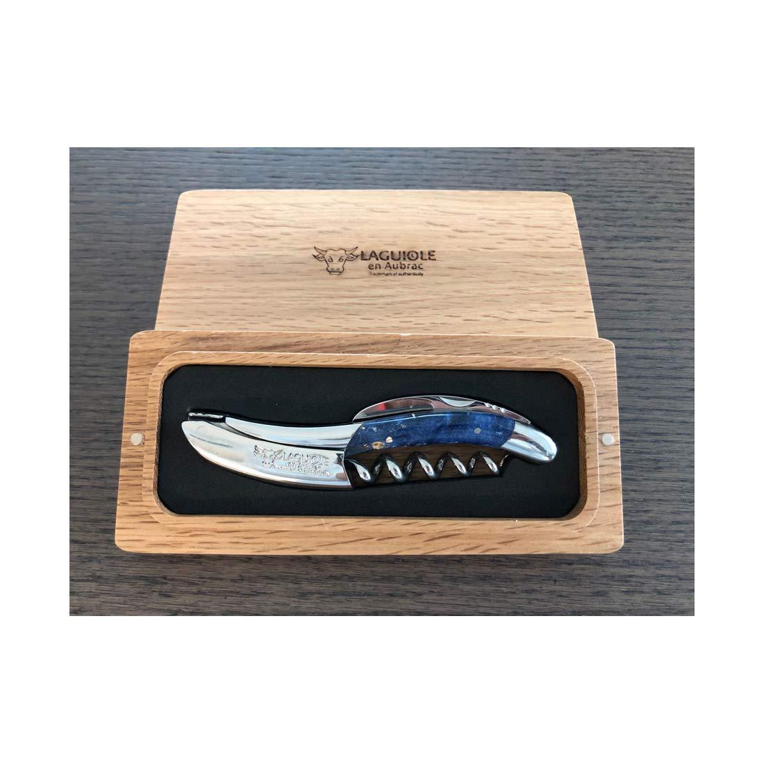 Laguiole en Aubrac Sommelier Waiter's Corkscrew, Stabilized Wooden Burl Blue by Laguiole en Aubrac