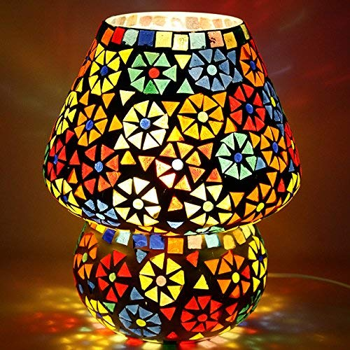(SHINE MILL Handcrafted Dome Shaped Multicolour Flower Design Glass Table Lamp (Small 16 cm)|Handmade Mosaic lamp Tea Light décor Light lamp Purely Handcrafted Mosaic Light)