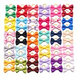 #5: YAKA 60PCS (30 Paris) Cute Puppy Dog Small Bowknot Hair Bows with Rubber Bands Handmade Hair Accessories Bow Pet Grooming Products (60 Pcs,Cute Patterns) (Rubber Bands Style 1)