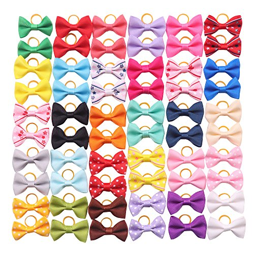 (YAKA 60PCS (30 Paris) Cute Puppy Dog Small Bowknot Hair Bows with Rubber Bands Handmade Hair Accessories Bow Pet Grooming Products (60 Pcs,Cute Patterns) (Rubber Bands Style 1))