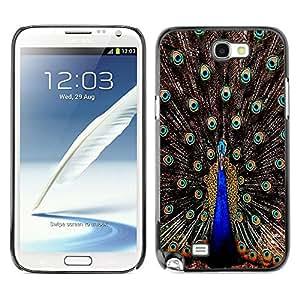 [Neutron-Star] Snap-on Series Teléfono Carcasa Funda Case Caso para Samsung Note 2 N7100 [Plumas del pavo real iridiscente Blue Bird]