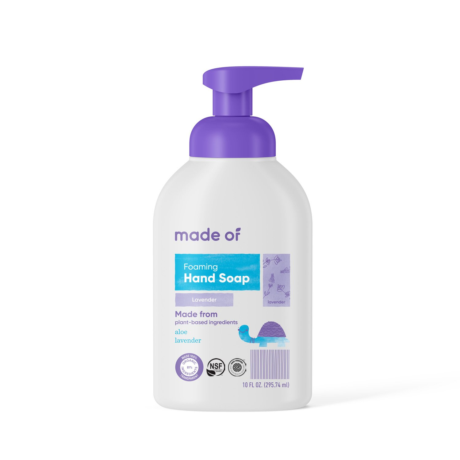 Organic Hand Soap by MADE OF - Dermatologist and Pediatrician Tested - NSF Organic and EWG Verified - For Sensitive Skin and Eczema - Made in USA - 10oz (Lavender, 1-Pack)