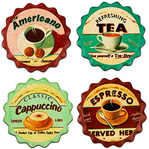 Janazala Decorative Art Beverage Ceramic Table Coasters, Cork Coasters Attached In Back. Absorbent Drink Coasters For Wine, Beer, Bar, Home and Office, Anniversary, Set of 4 (Coffee, Tea) (Coffee Set For Office compare prices)