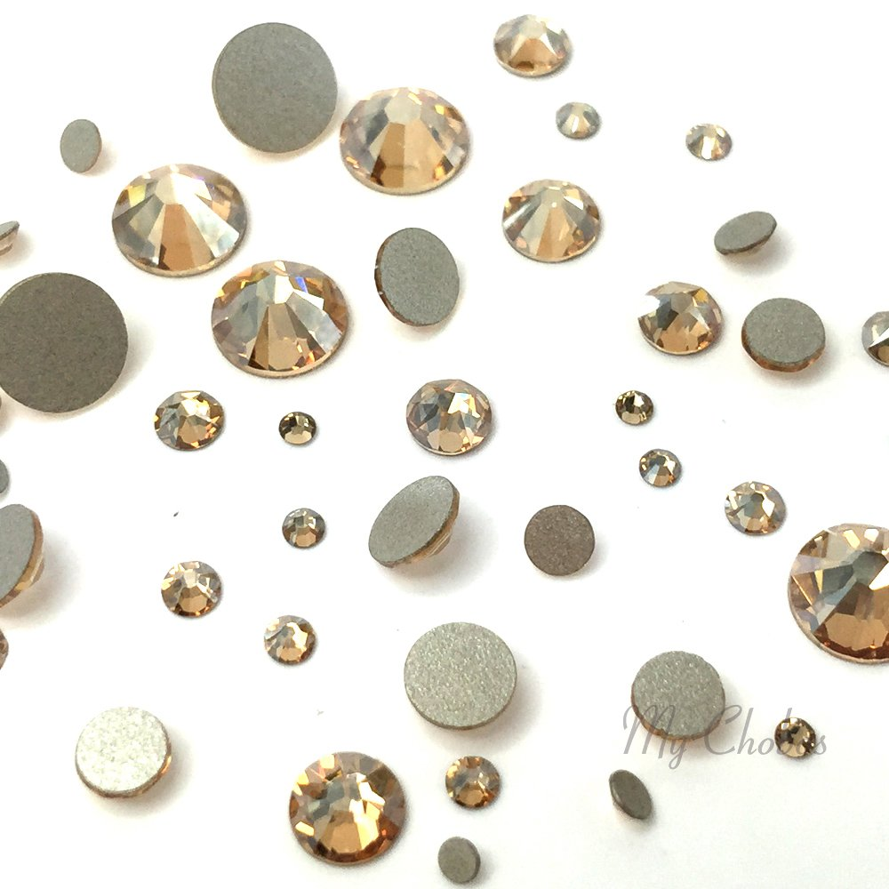 CRYSTAL GOLDEN SHADOW (001 GSHA) 144 pcs 2058/2088 SWAROVSKI Flatbacks rhinestones nail art mixed with Sizes ss5, ss7, ss9, ss12, ss16, ss20, ss30 by Crystal-Wholesale