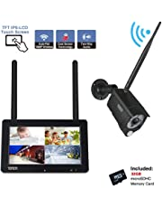 """【2-Way Audio】Tonton 1080P Portable Wireless LCD Security Camera System with 7"""" IPS Touchscreen Monitor, 4CH NVR Kit and 2.0MP 2-Way Audio Camera with PIR Sensor,Rechargeable Battery, 32GB SD Card Preinstalled"""
