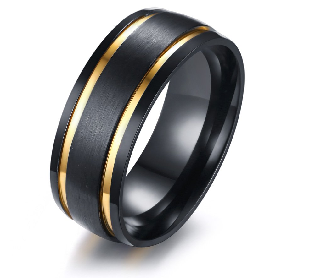 XUANPAI 8mm Men's Wedding Band Stainless Steel Brushed Matte Double Groove Gold Inlay Domed Ring,Size 10