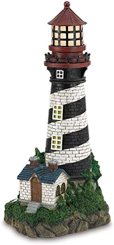 NEW 9.5″x8.25″x19″ High Solar Powered Lighthouse Statue Garden Decoration