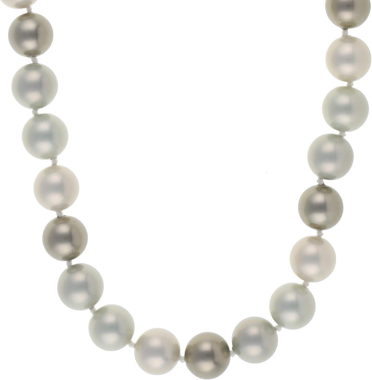 Jewel24 - Collar de Perlas de Plata de Ley 925 con núcleo de Conchas, 50 cm de Largo, 14 mm de diámetro, Color Plateado y Verde