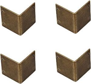 RZDEAL 4Pcs Retro Style Pure Copper 90 Degree Right Angle Copper Guard Edges Copper Corner Protector Box Corner Guards Protectors Edge Cover (1.18