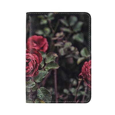 lovely Rose Drops Bud Bush Blur Leather Passport Holder Cover Case Travel One Pocket