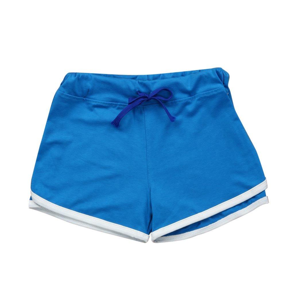 TRENDINAO Summer Short Pants Women, Sport Shorts Gym Workout Waistband Skinny Yoga Elastic Shorts Blue