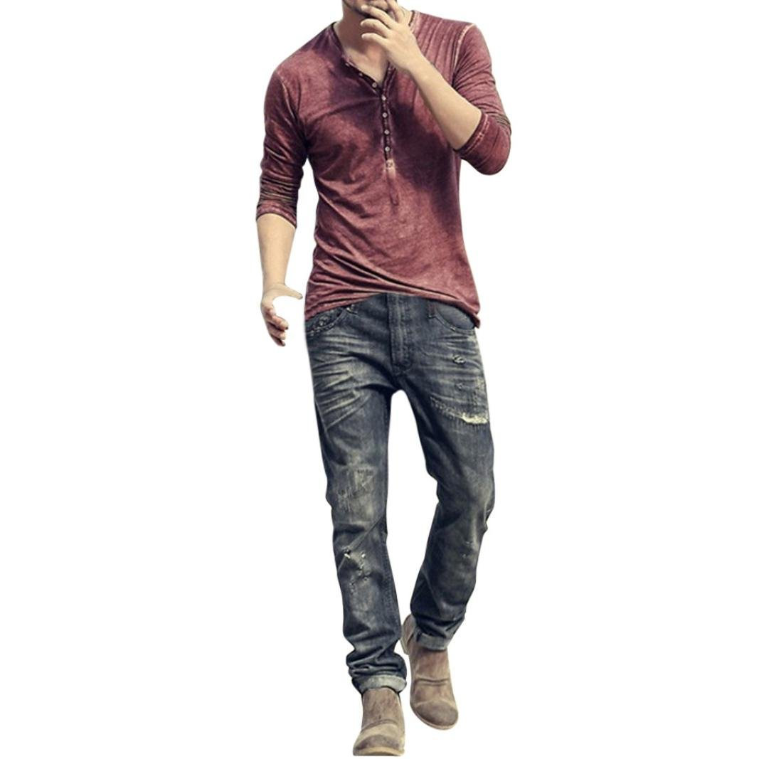 Clearance Sale Men Henley Shirts vermers Men Autumn Casual Vintage Long Sleeve V-Neck T-Shirt Tops(M, Wine)
