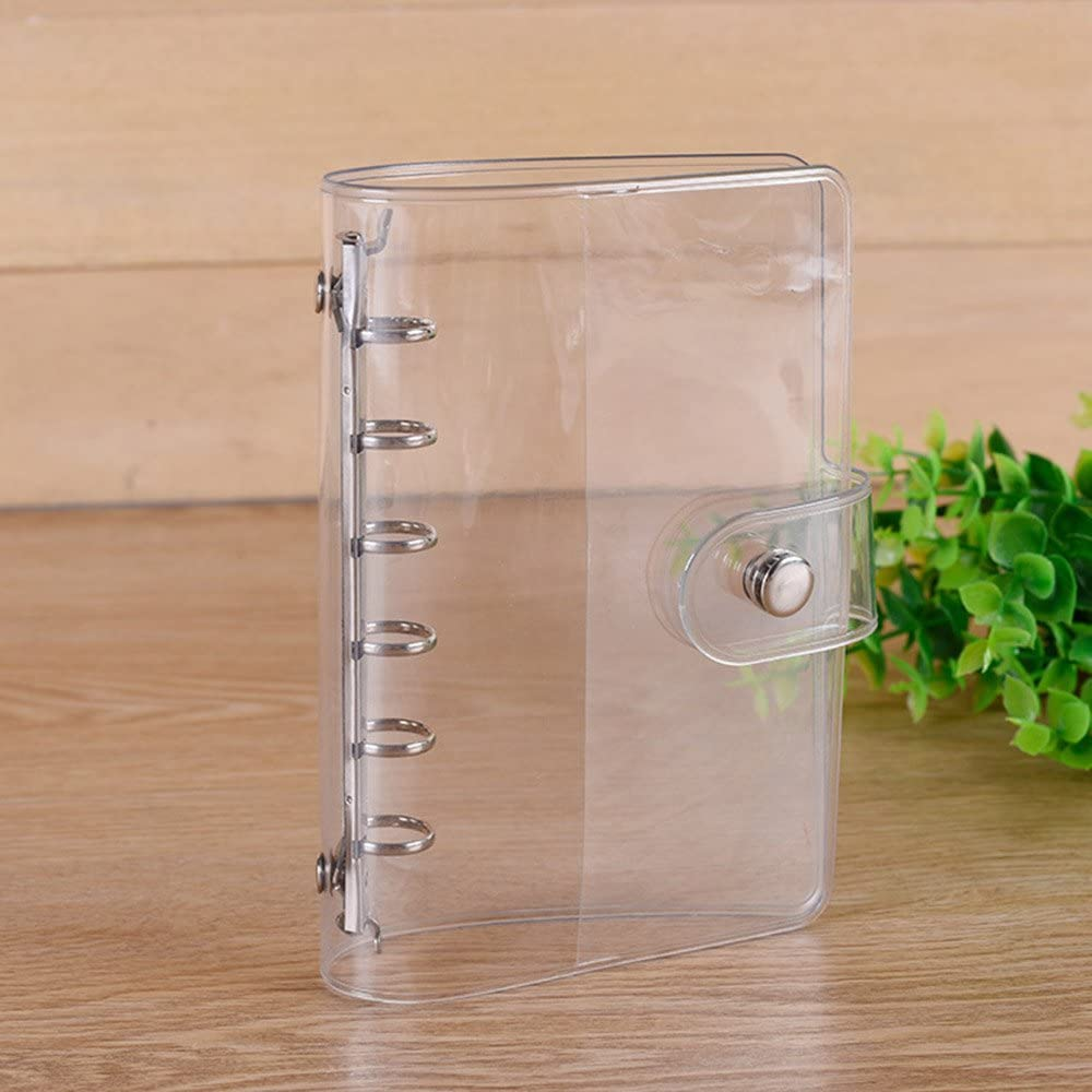 HuntGold A5 Standard 6 Holes Soft PVC Transparent Loose Leaf Folder Round Ring Binder Inner Core Spiral Notebook Cover 23.5x18.2 cm