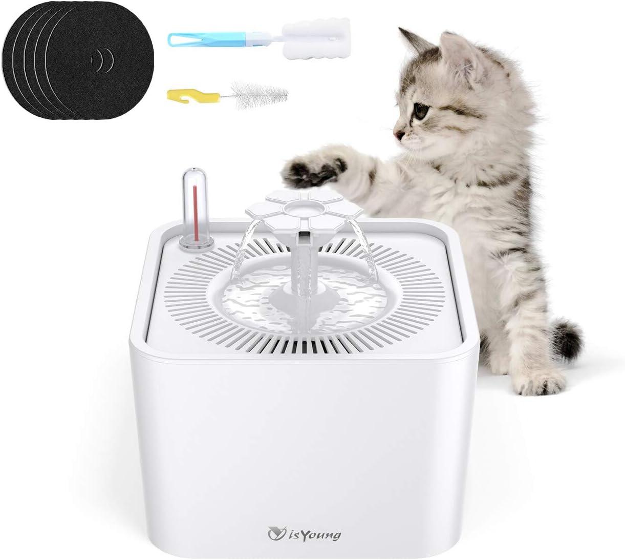 isYoung Bebedero Gatos Fuente Silencioso 2.2L para Perros y Gatos Bebedero Automático Fuente de Agua para Mascotas con 5 Filtros