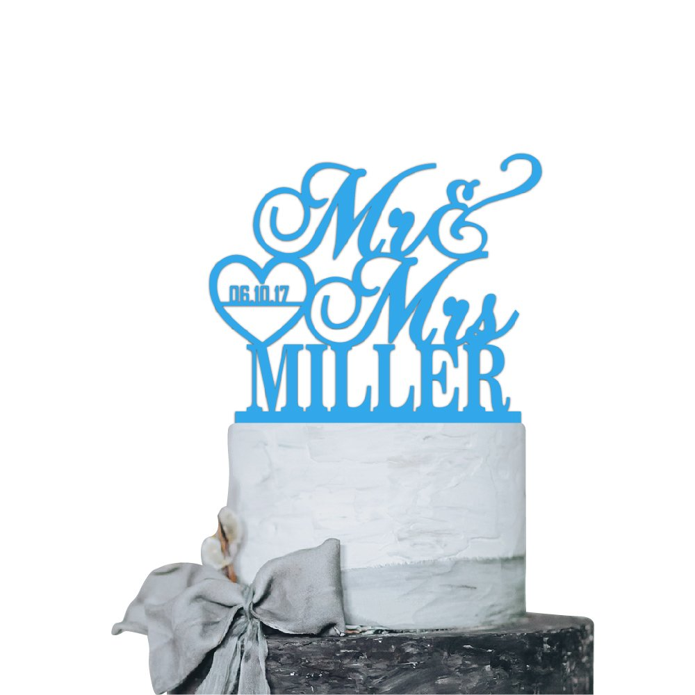 P Lab Personalized Cake Topper Mr. Mrs. Last Name Custom Date 2 Wedding Cake Topper Acrylic Decoration for Special Event Light Blue
