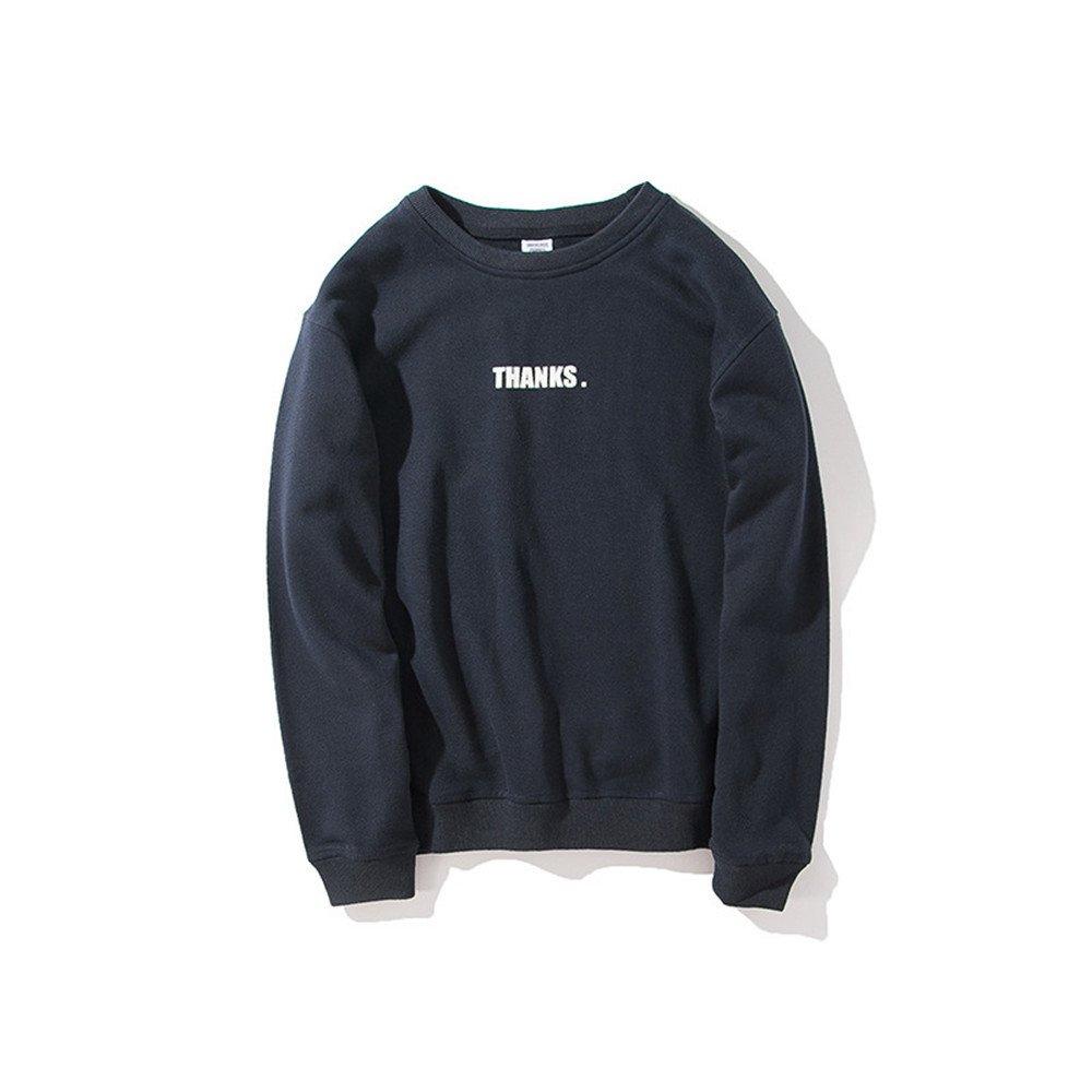 Ndsoo - Hoodies männer Pullover - Kopf schreiben der Jugend japanischen Stil Pullover,Navy Blau,XL