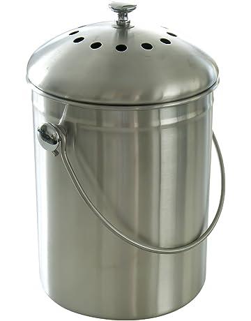 Acero inoxidable para compost con filtro de carbón y instrucciones incluidas