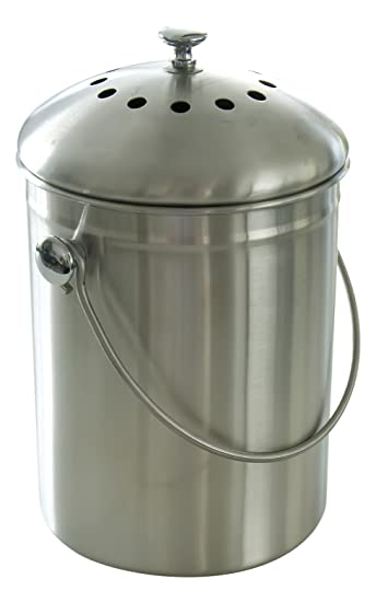 compost bin stainless steel with charcoal filter and included