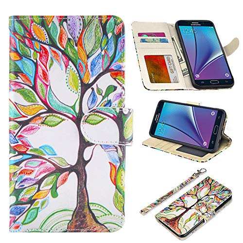 UrSpeedtekLive Samsung Galaxy Note 5 Case, Galaxy Note 5 Premium PU Leather Wristlet Flip Wallet Case Cover with Card Slots & Stand- Love Tree