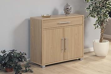Home Source Oak Cupboard 2 Door 1 Draw Sideboard Storage Unit Silver  Handles Sorrento