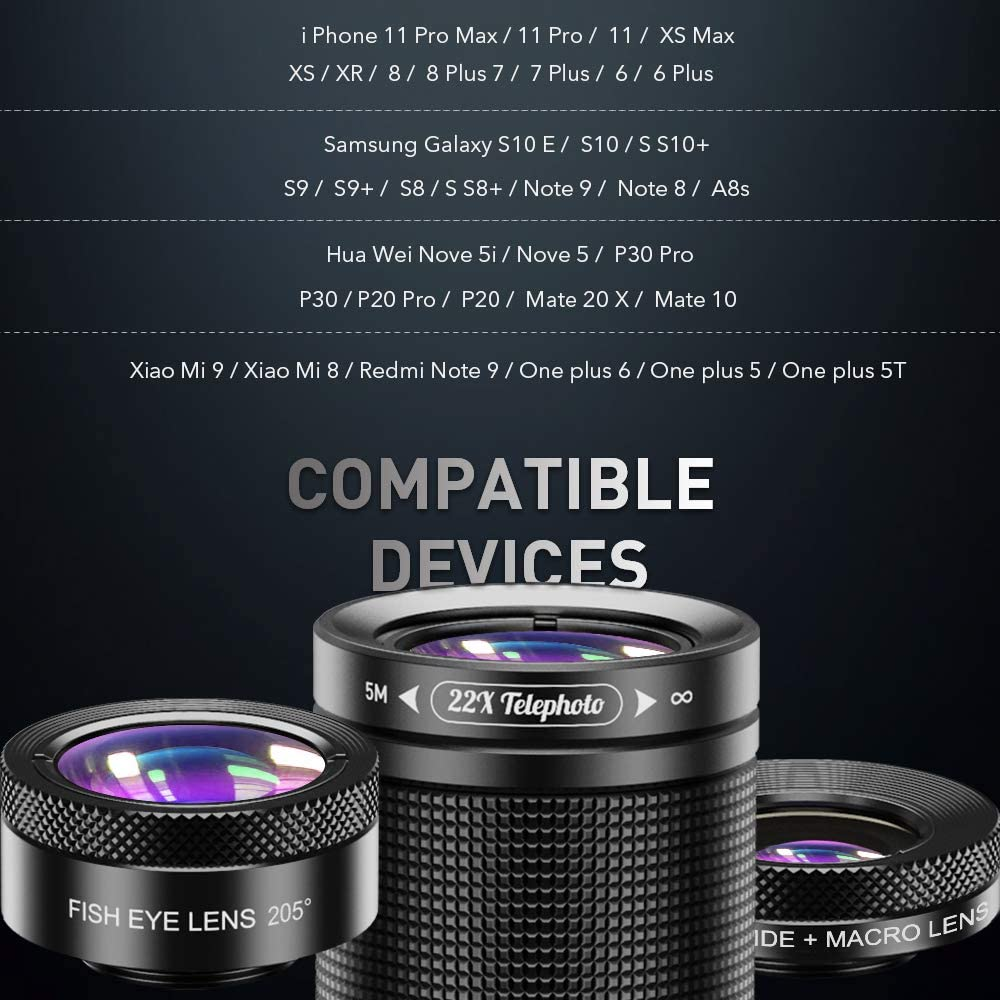 Compatible with iPhone 11 8 7 6 6s Plus X Xs//Max XR Samsung 205/° Fisheye Lens Screwed Together 120/° Wide Angle Lens /& 25X Macro Lens Apexel Phone Lens Kit 6 in 1 22X Telephoto Lens