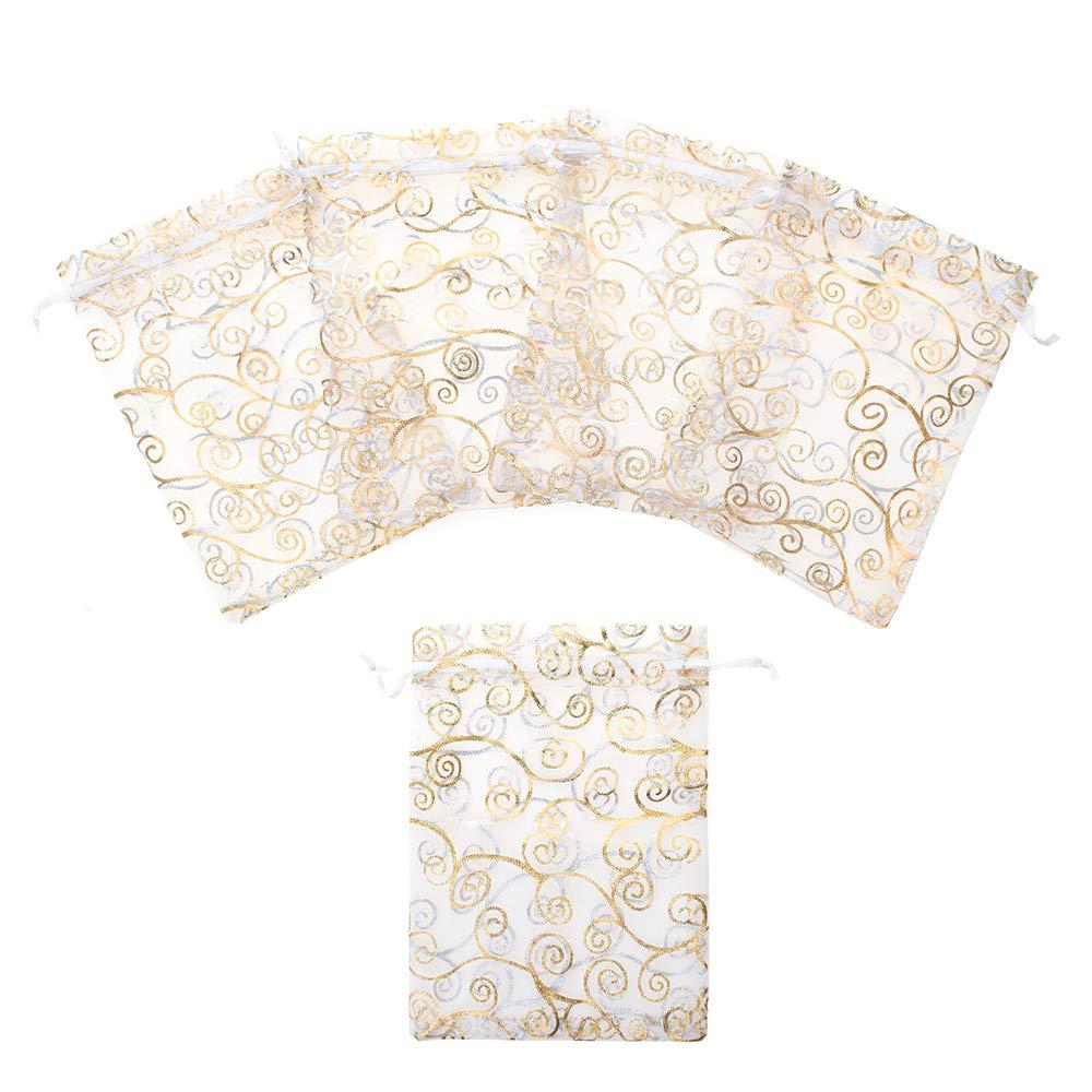 Aspire 200 PCS Organza Drawstring Pouches, 5'' x 7'', White Pouch with Golden Eyelash Pattern by Aspire