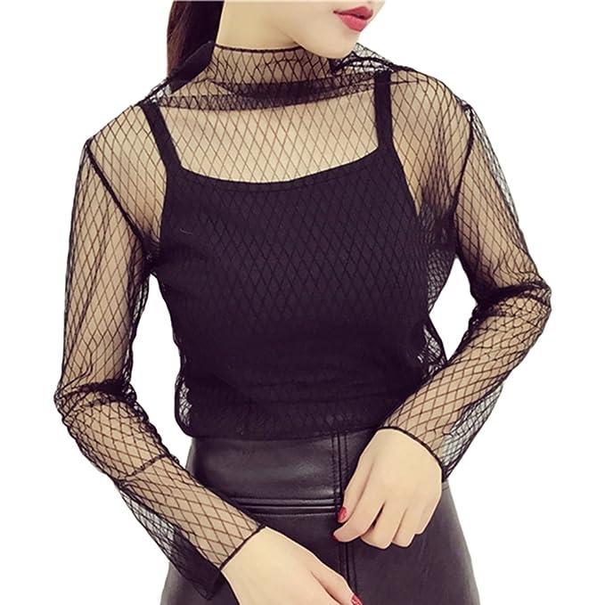 Yiiquan Mujeres Camisetas Malla Perspectiva Blusa Transparente Manga Larga Tops