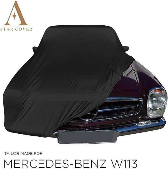 Autoabdeckung Schwarz Passend FÜr Mercedes Benz W113 Mit Spiegeltaschen Ganzgarage Innen SchutzhÜlle Abdeckplane Schutzdecke Cover Auto