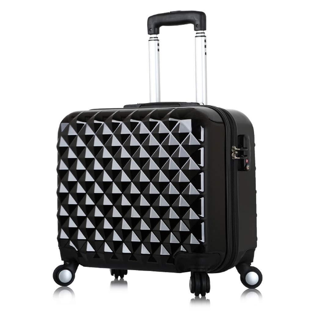 トロリーケース- 男性および女性のビジネススーツケースのトロリー箱、学生の小型スーツケースの荷物17インチ (Color : Black, Size : 17in) B07V9C3WGD Black 17in