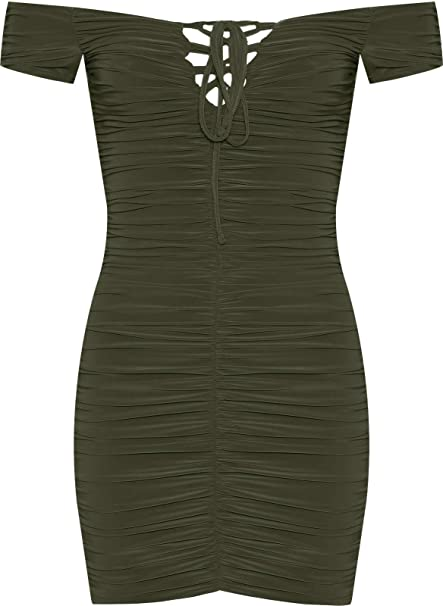 864f7cf48287 WearAll Women s Bardot Off Shoulder Ruched Slinky Lace Up Bodycon Mini Dress  Ladies - Khaki Green