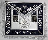Hand Embroidered Masonic Past Master Mason Apron Navy Blue with Silver Bullion & Fringe
