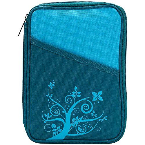 Turquoise Flower Branch 7.5 x 10 Reinforced Polyester Bible Cover Case with Handle